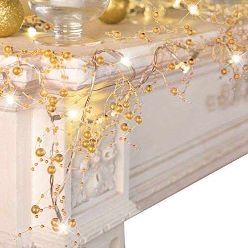 VERY100 Cordless Lighted Berry Beaded Holiday Christmas Decorations Garland 2.5m (Gold)