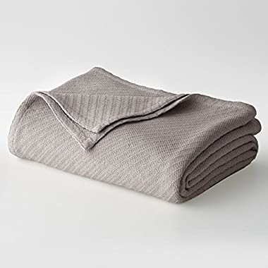 Cotton Craft - 100% Soft Premium Cotton Thermal Blanket - Full/Queen Grey - Snuggle in these Super Soft Cozy Cotton Blankets - Perfect for Layering any Bed. Will provide Comfort and Warmth for years - Easy Care Machine Wash