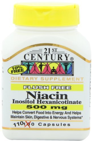 21st Century Niacin 500 Mg Flush Free Capsules, 110-Count (Pack of 3)