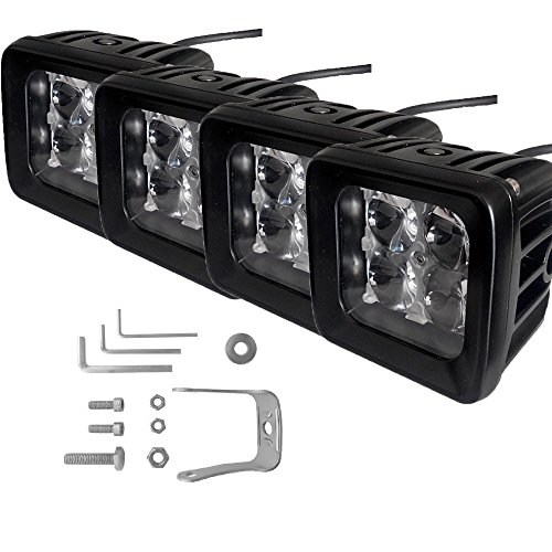 TJMOTO CREE 3″inch 12W 4D Len Spot LED Fog Light Off-road Pods For Ford/GMC/Chevy/Dodge/Toyota/Jeep Truck Polaris RZR/teryx mule/rhino/ Can am UTV ATV -Pack of 4