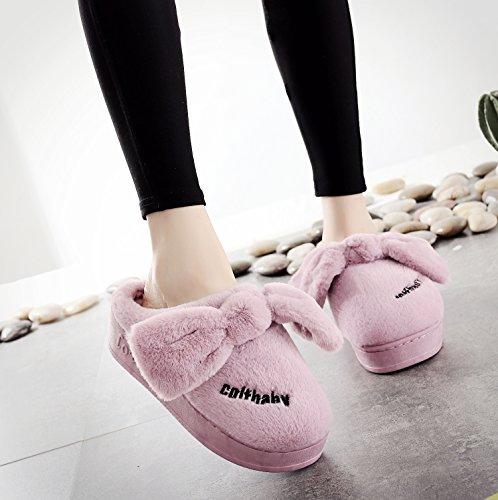 Inverno fankou pantofole di cotone home home confezione interna con delizioso caldo spesso uomini e donne matura anti-slittamento pantofole ,37-38, orecchie blu.