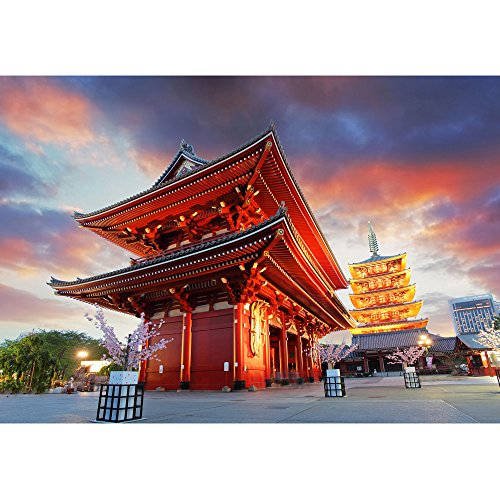 wall26 - Tokyo - Sensoji-Ji, Temple in Asakusa, Japan - Removable Wall Mural | Self-Adhesive Large Wallpaper - 100x144 inches by wall26 (Image #1)