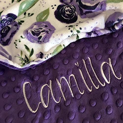 baby girl blanket Personalized Baby Blanket Newborn Girl gift Newborn Gift Baby Shower Gift Rose baby blanket Purple Rose Blanket