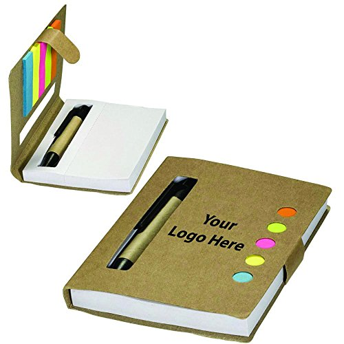 (Eco Stowaway Sticky Jotter With Pen - 125 Quantity - $1.85 Each - PROMOTIONAL PRODUCT / BULK / Branded with YOUR LOGO / CUSTOMIZED)