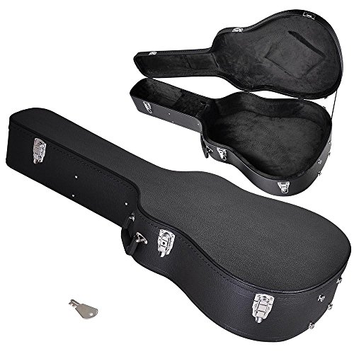 "AW 41"" Acoustic Dreadnought Guitar Hard Case Wooden Hard Shell Carrying Case with Lock Latch Key Black"