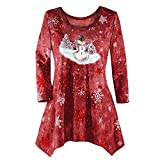 WOCACHI Final Clear Out Christmas Womens Blouses Drape Hem Sweatshirt Pullover Xmas Tops Shirts Black Friday Cyber Monday Winter Bottoming Shirt Reindeer Crew Neck Snowman (Wine, XXXX-Large)