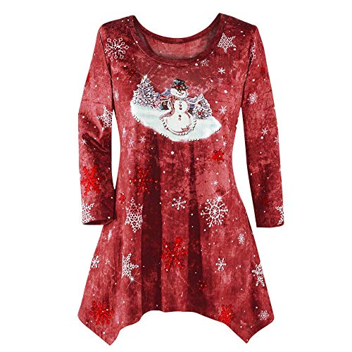 Cozy Festival Dress,KIKOY Womens Xmas Print 3/4 Sleeve Tunic Shirt with Pockets
