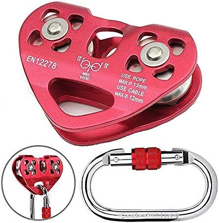 Bento Escalada Doble Polea Cable de Acero de 13 mm Dispositivo de Cuerda de Escalada de Alta Velocidad Zipline Carretilla 24KN,Rojo
