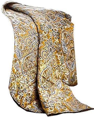 Cachemire à rayures ocre or en coton mélangé taille King housse de Couette /& Rideaux à anneaux