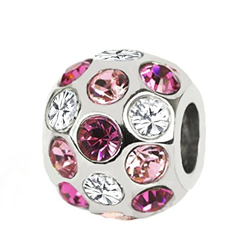 Rhodium Plated 925 Sterling Silver Round Shinning Charm with Fuchsia, Rose Pink , White 3 Colors Swarovski Crystal, Fits Pandora, Jovana, Chamilia Bracelet, Very Nice Looking on Necklace, Too