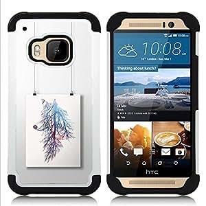 """HTC One M9 /M9s / One Hima - 3 en 1 impreso colorido de Altas Prestaciones PC Funda chaqueta Negro cubierta gel silicona suave (Pintura rama de árbol colorido"""")"""