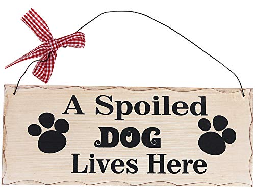 Wood Dog Sign Decor Dog Lover Sign, Hanging Pet Sign for Home Decor, Decorative Plaque Funny Dog Sign with Saying A Spoiled Dog Lives Here,