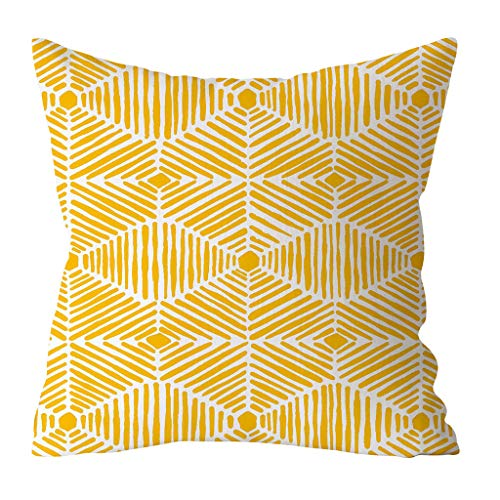 Fitted Thomasville Sheet (Weiliru Pillow Case-Yellow Stripe Pattern Standard Size Pillow Protectors Reversible Cotton Pillow Covers Decoration,18''×18'')