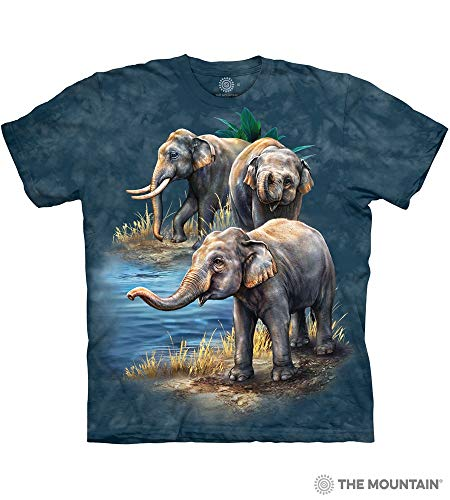 The Mountain Asian Elephants Adult T-Shirt, Blue, Large