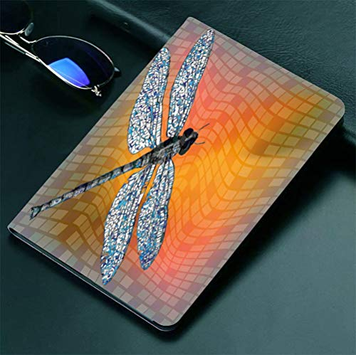 "iPad 9.7"" ipad2 3 4 Case Dragonfly,Bird Like Bugs Flying on Orange Marigold Abstract Geometrical Digital Backdrop,Multicolor 360 degree swivel mount cover for automatic sleep wake up ipad case Anti-fa"
