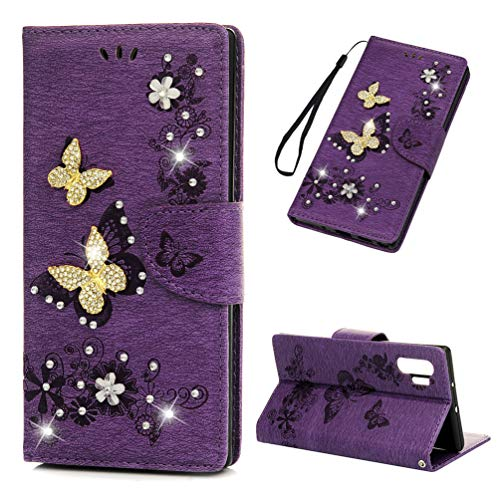10 Gemstone - Galaxy Note 10 Plus Case, Mavis's Diary Embossed Floral PU Leather Wallet Shiny Gemstone Rhinestone Butterfly Flip Folio Case Shockproof Durable Purse Case for Samsung Galaxy Note 10 Plus, Purple