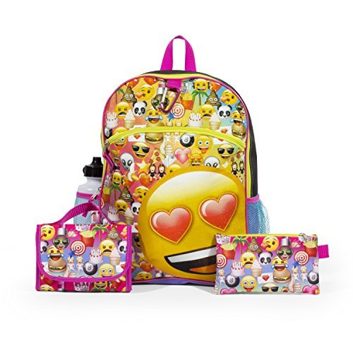 Emoji Yellow16 inch Backpack Back to School Essentials Set for Girls
