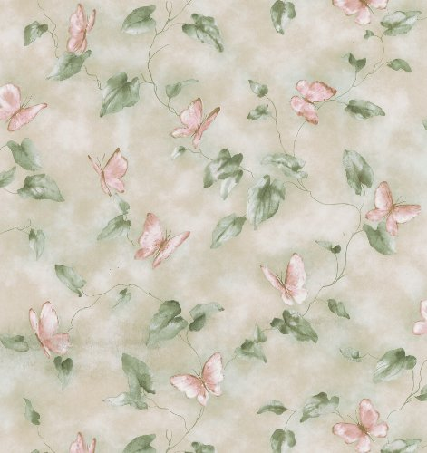 091212451087 - Brewster 414-45108 Heather Light Green Butterfly And Vines Wallpaper carousel main 0