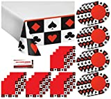 Casino Poker Night Birthday Party Supply Pack Bundle Serves 16 - Plates, Napkins, Table Cover (Plus Party Planning Checklist by Mikes Super Store)