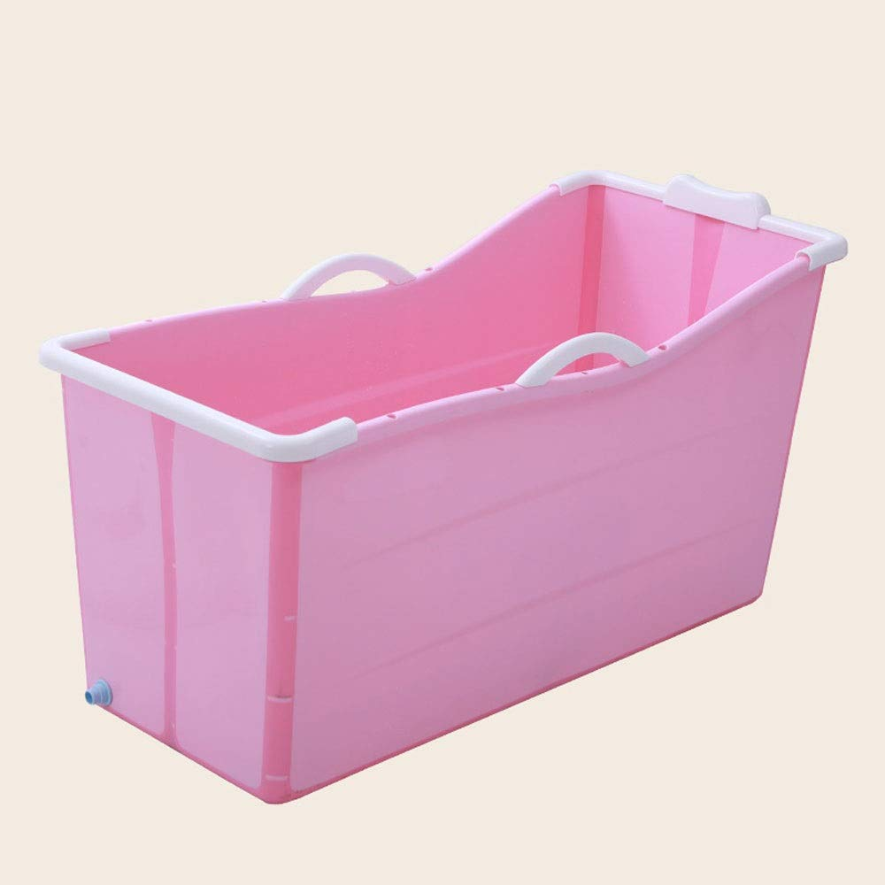 Pink No cover A - Z ZA Adult Folding Bathtub, Plastic Bath Barrel, Household Large Portable Tub, Plastic Tub, Optional with or Without Cover,2 colors (color   Pink, Edition   No cover)