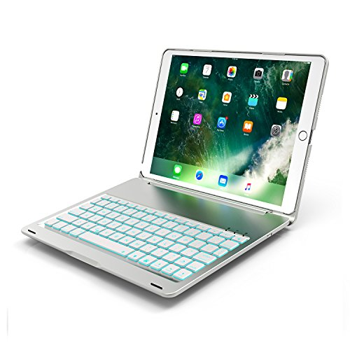 Green Aluminum Case (iPad Pro 10.5 Case With Keyboard,7 Colors Led Backlit,Wireless Bluetooth Folio Keyboard Hard Shell Cover -Ultra Slim,Portable,Protective&Aluminum Alloy Material (Silver))