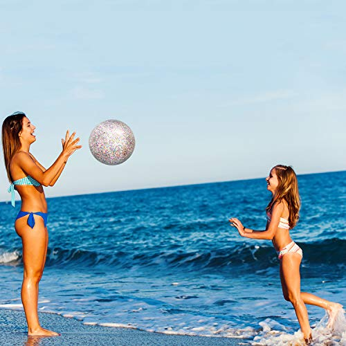 Chuangdi 4 Pieces Glitter Beach Ball Confetti Beach Ball Inflated Party Ball for Summer Beach Favor (16 Inch-3 Pieces, 24 Inch-1 Piece)