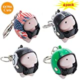 4 Pack Novelty Dingding Squishy Toy Helmet Keychain,Mini Squeeze Mochi Toy Super Soft Slow Rising Stress Relief Toy for Birthday Gift Christmas Party Supplies (Style 3)