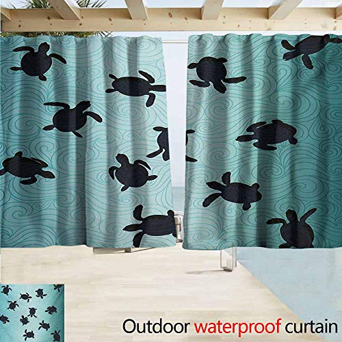 Wlkecgi Marine Outdoor Waterproof Curtain Baby Sea Turtles Swimming Silhouette from The Bottom of Ocean Underwater Display Perfect for Your Patio, Porch, Gazebo, or Pergola W55 xL45 Teal Dark Blue