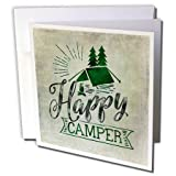 3dRose Andrea Haase Inspirational Typography - Happy Camper Typography Quote - 12 Greeting Cards with envelopes (gc_274867_2)
