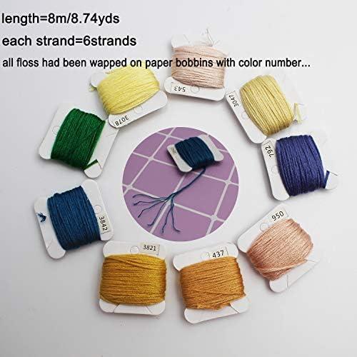 150 Colors Embroidery Floss Cross Stitch Threads-YAOYUE Friendship Bracelet Floss Craft Thread with Organizer Storage Box Large,Prewound Floss Bobbin,String Cross Stitch Kit-Set of 186pcs