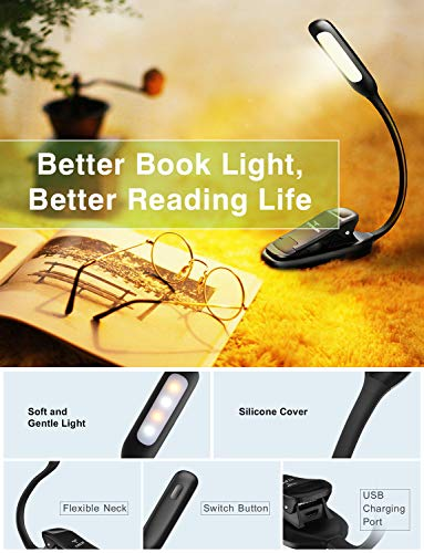 LED Reading Light, TopElek Rechargeable Book Light, 3-Level Brightness (Cool and Warm) and Flexible Easy Clip On Reading Lamp, Eye Protection Brightness, Soft Table Light for Night Reading, Kindle by TOPELEK (Image #2)