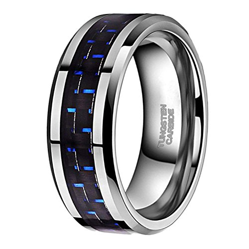 8mm Tungsten Carbon Fiber Ring for Men Women Black Blue Inlay Wedding Band Comfort Fit Size (Silver Mens Fashion)