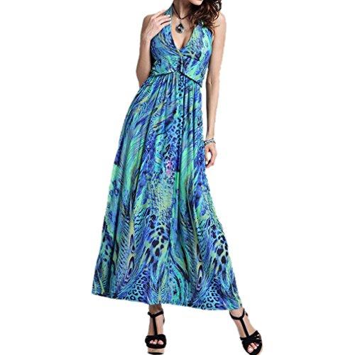 Honghu Elegante Sin Mangas Halter de encaje Maxi Vestido para Mujer Bohemia Trip Dress Verde
