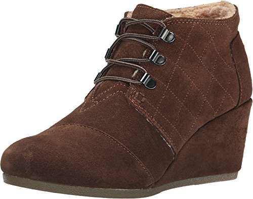TOMS Women's Desert Wedge Chocolate Brown Suede w/Shearling Boot 12 B -