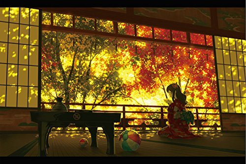 (DecorArts Poster Panel ( Art & Anime Painting ) 4 folds H10.4 x W15.4 Wooden Folding Screen Prints On Japanese Paper 【 During Autumn Time 】)