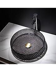 Lovedima Glass Vessel Sink,Black Crystal Glass Bathroom Vanity Wash Sink Above Counter