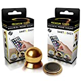 #1 Magnetic Cell Phone Holder by SMART & EASY® - Cell Phone Car Mount - Car Mount Phone Holder - Universal Magnetic Dashboard Mount - Suitable For All Phone Sizes And Tablets - Fits In Any Vehicle (Gold)