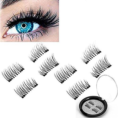 8 PCS 3D Magnetic False Eyelashes 3D Black Dual Magnetic 0.2mm Ultra-thin Reusable Glue-free Fake Eyelashes Glamorous, Natural Look, Handmade Reusable Eyelashes (2 Pair 4 Pieces)