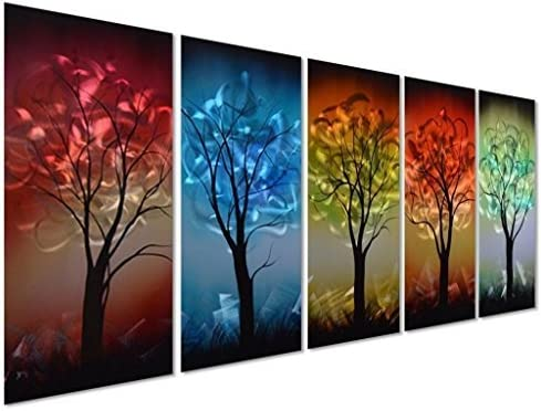 Pure Art Multi-Colored Tree Metal Wall Art