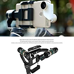 FeiyuTech SPG 3-Axis Gimbal, with Smart Portrait Mode, Precisely Adaptable for iPhone Smart Phones GoPro HERO5 and Sports Cameras, 360 Degree Limitless Panning, with Tripod