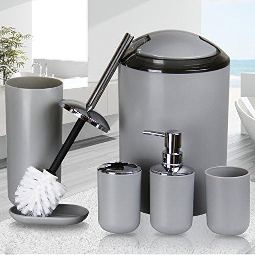 IMAVO Bathroom Accessories Set,6 Pcs Plastic Gift Set Toothbrush Holder,Toothbrush Cup,Soap Dispenser,Soap Dish,Toilet Brush Holder,Trash Can,Tumbler Straw Set Bathroom (Grey) 512sYnOssIL