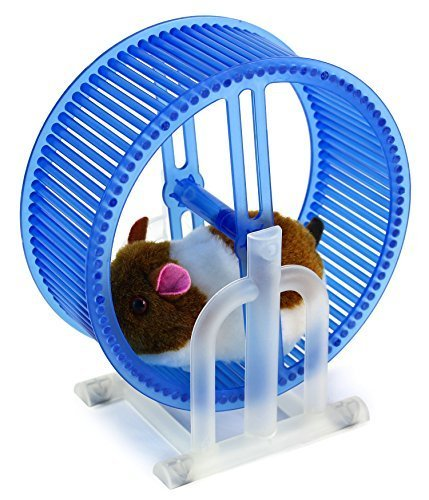 Happy Hamster Spinning Exercise Wheel Children's Kid's Electronic Toy Pet Playset w/ Hamster, Wheel, Stand (Colors May Vary) by Electronic Toy Pets