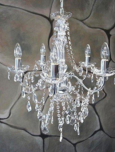 Kronleuchter Lüster 52 cm Durchmesser 5 armig Chrom Kristall Leuchter LV3021