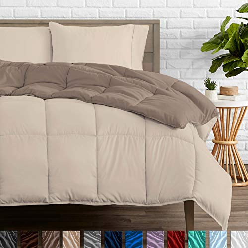 Bare Home Reversible Comforter - Full/Queen - Goose Down Alternative - Ultra-Soft - Premium 1800 Series - Hypoallergenic - All Season Breathable Warmth (Full/Queen, Taupe/Sand)