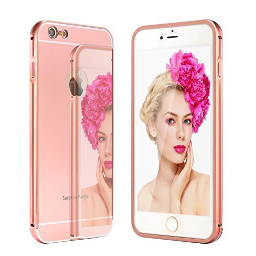 6 Case, Surprise Panda (TM) New Luxury Aluminum Ultra-thin Mirror Metal Case Cover for iPhone 6 [Girl case] (iPhone 6, Rose Gold)