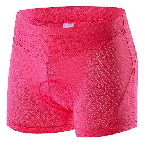 Cycling Underwear Women Padded, Bike Shorts Women with Padding,Bicycle Briefs,Biking Underwear Women Pink X-Large