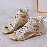 haoricu Women's Open Toe Flats Cutout Sandals