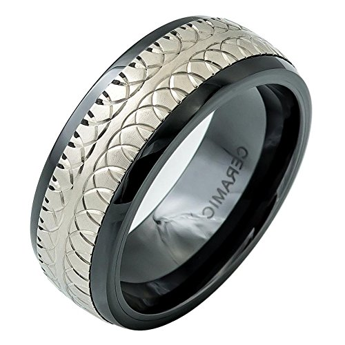 iPauly 8mm Ceramic Domed Black Ring with Carved Overlapping Semi-Circle design on Titanium Inlay Wedding Band Ring (Carved Ceramic)