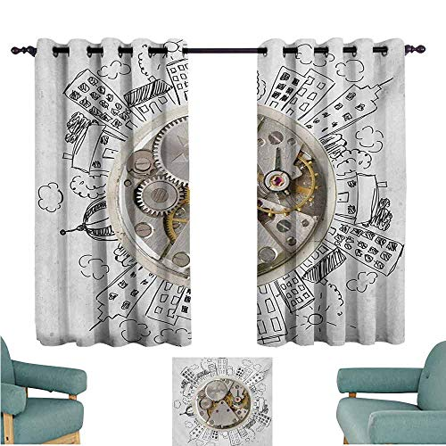 DONEECKL Room Darkening Wide Curtains Clock an Alarm Clock with Clouds and Buildings Around It in Vintage Style Pattern Design Noise Reducing Curtain W63 xL72 Pale Grey