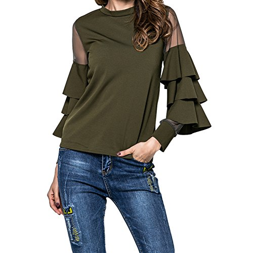 Army Bell (Fancathy Women's Loose Long Sleeve Blouse Shirt Mesh Stand Neck Tiered Bell Sleeve T-Shirt Tops Army Green)